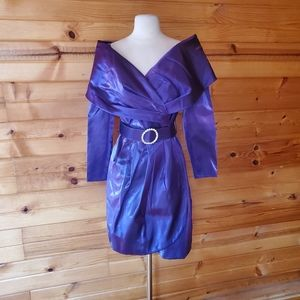 1980s Betsy & Adam Shimmery Purple Cocktail Dress